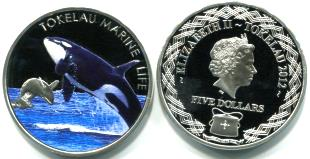 Tokelau 5 Dollars 2012 multi-color coin depicts Orcas.