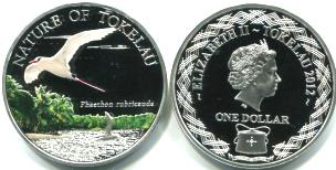 Tokelau 1 Dollar 2012 Red-tailed Tropicbird