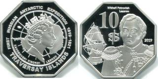 Traversay Islands 10 Dollar 2019 coin depicts Mikhail Lazarev in the sloop Mirny