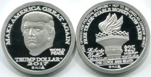 2017 Trump Liberty dollar, 1 troy ounce .999 fine