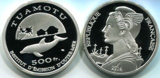 Tuamotu 500 Francs 2014 Proof Essai coin