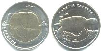 Turkey 2009 1 Lira bimetallic animal coins: Elephant and Turtle