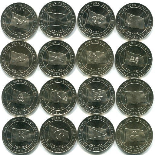 Turkey set of 16 1 Kurus coins featuring the flags of Great Turkish Empires