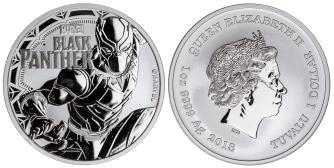 Tuvalu 1 Dollar 2018 Black Panther 1 troy ounce silver coin