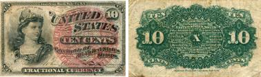 United States 10 Cents fractional currency note, 4th series, 1863 P115