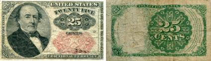 United States 25 Cents fractional currency note, 5th series, P123