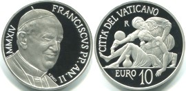 Vatican silver 10 Euros 2014 World Communications Day
