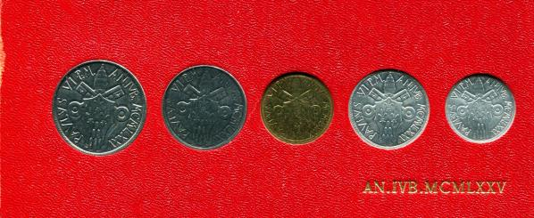 Vatican 1975 JUBILEE YEAR 5 COIN MINT SET: 5 - 100 LIRE KM-SA80