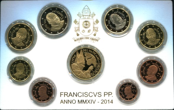 Vatican 2014 Proof Set with 50 Euro Gold Coin commemorating canonization of Pope John Paul II