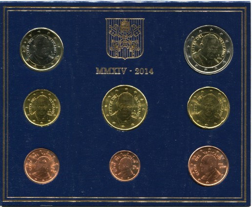 Vatican 2014 Mint set: 1 Eurocent - 2 Euro.