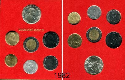 Vatican 1982 7 coin Mint set KMS87