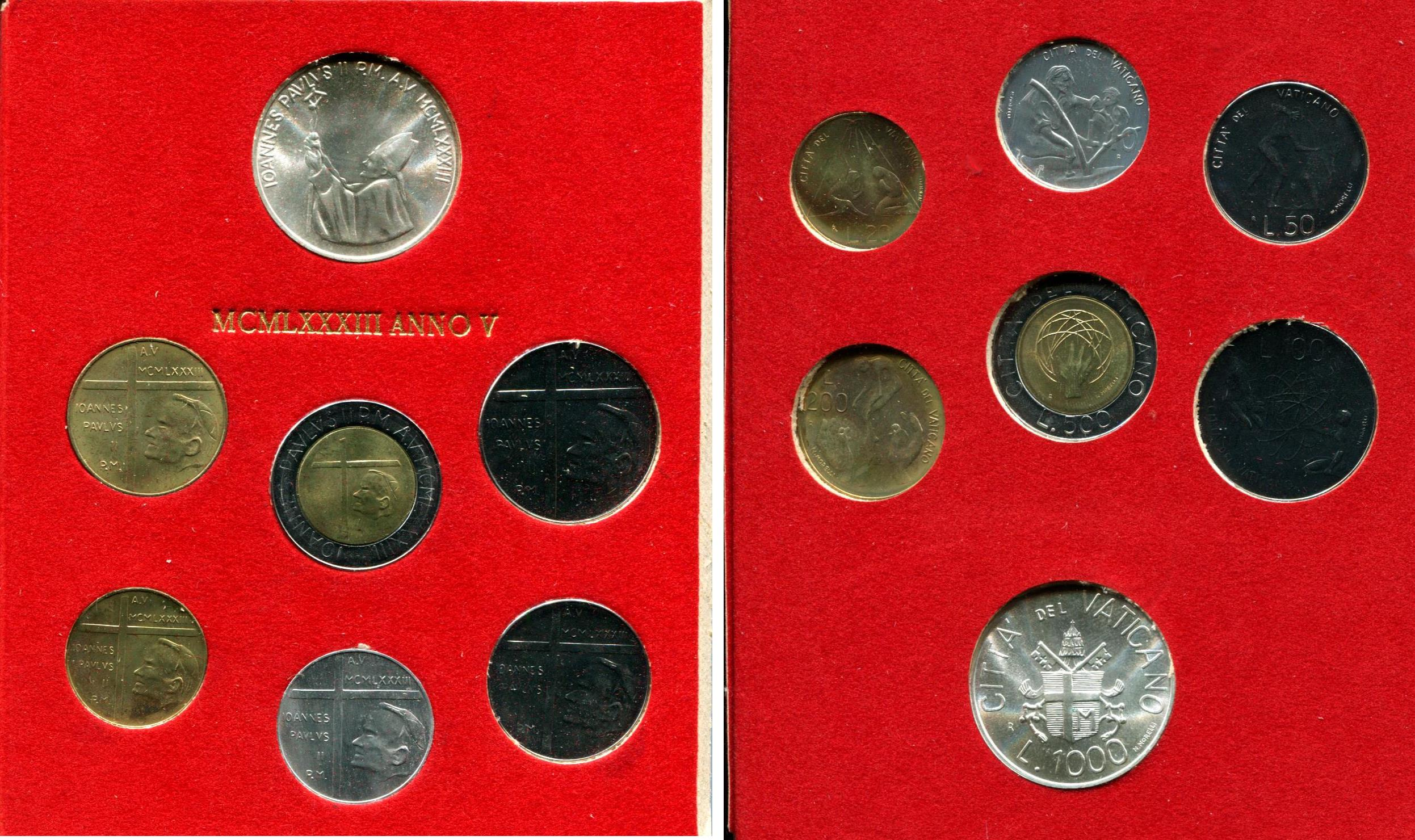 1963 Italy Vatican complete set  coins UNC with silver in official red box