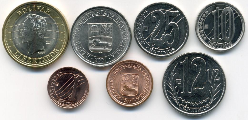 Venezuela 7 Coin Set 1 Centavo Bolivar Y87 Y93