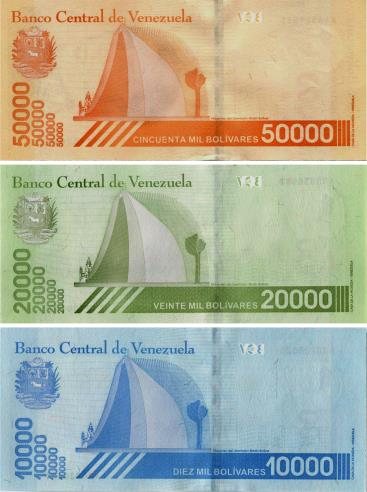Backs of Venezuela 50000, 20000 & 10000 Bolivares notes, 2019