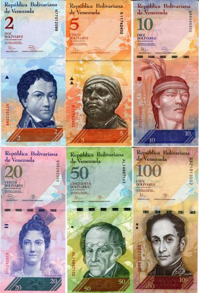 Venezuela currency set: 2 - 100 Bolivares, Front