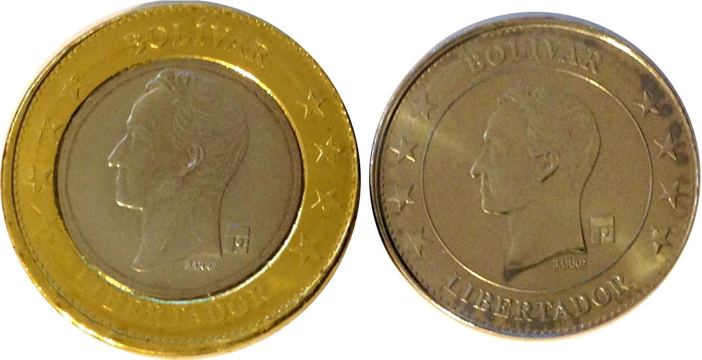 VENEZUELA 50 CENTAVOS 1 BOLIVAR SOBERANO 2018 UNC FULL COIN SET OF 2