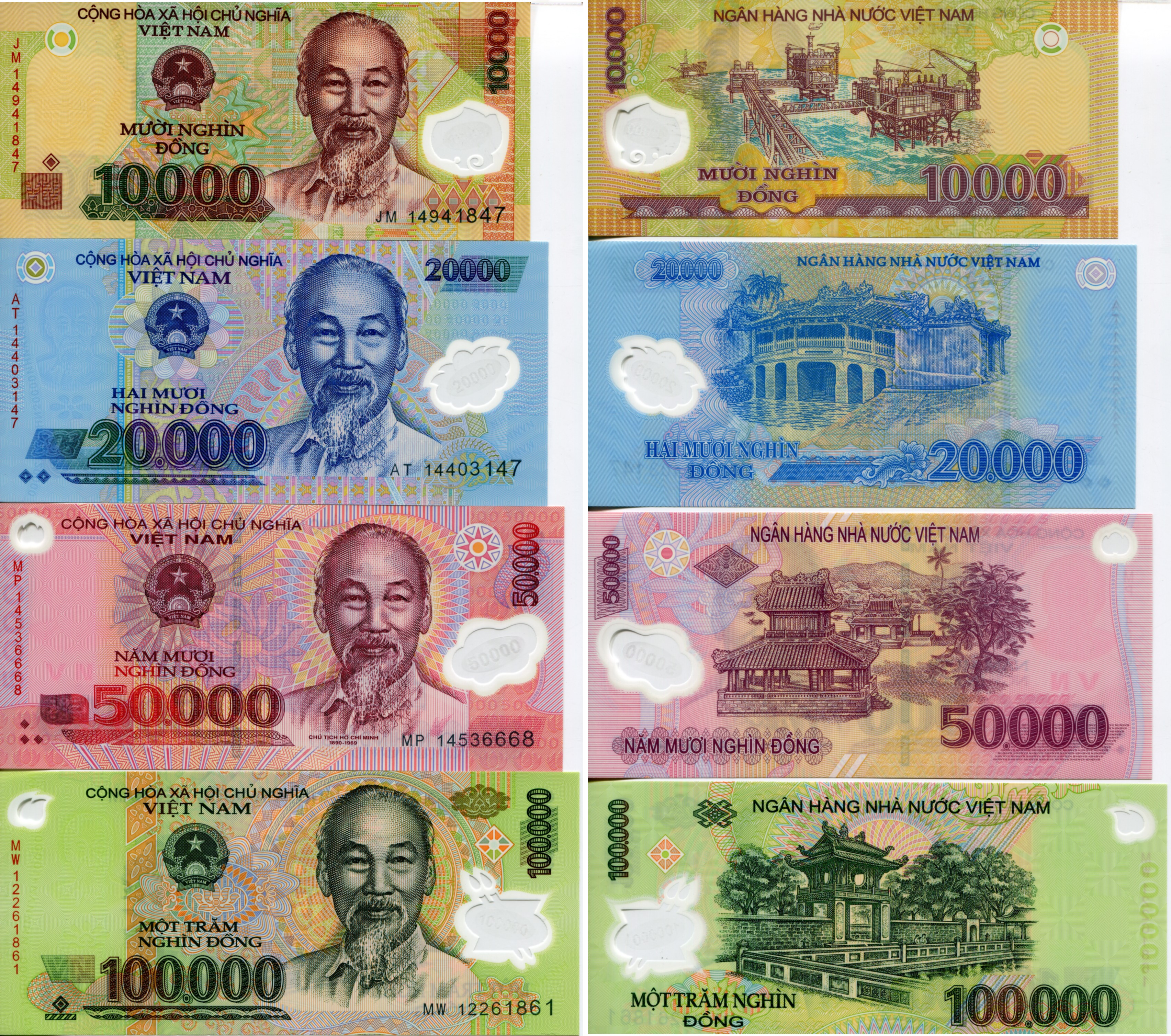 Vietnam Bank Note Set 10 000 To 100 Dong P119 P122