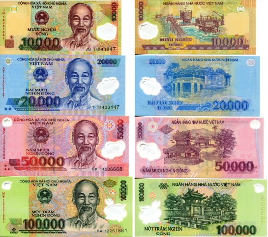 Vietnam bank note set, 10,000 to 100,000 Dong P119 - P122
