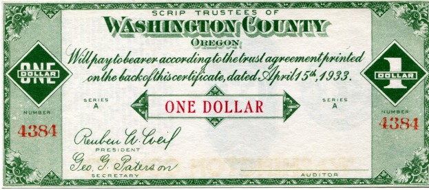 Washington County, Oregon (Hillsboro) 1 Dollar Scrip 1933
