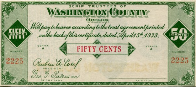 Washington County, Oregon (Hillsboro) 50 Cent Scrip, 1933
