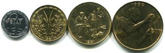 West African States 4 coin set: 1 - 25 Francs. 1991, KM8, KM2, KM10, KM9