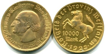 Westphalia (Germany) 10 Million Mark coin, 1923