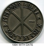 Wikingland 10 Wiking Mark Runic Year 2244 (1994), with date Elder Furhark Runic