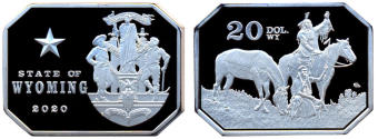 Wyoming 20 Dollars 2020 coin depicting American Indians