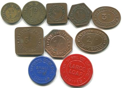Set of 10 Tokens from Ynysybwl Co-op Society in Wales.