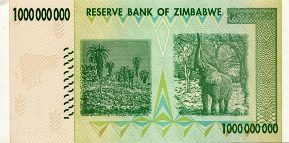 Front of Zimbabwe $1,000,000,000 Dollar currency note