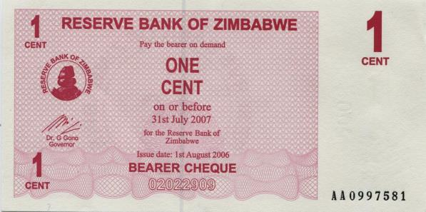 Zimbabwe 1 Cent bearer cheque note