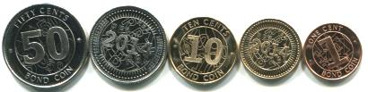 Zimbabwe 1, 5, 10, 25 and 50 Cents Bond coins, 2014