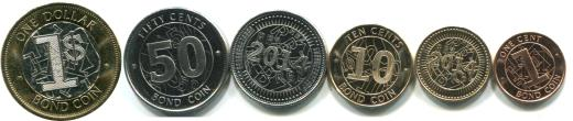 "Zimbabwe set of 6 ""Bond"" coins, 1 Cent - 1 Dollar KM16-KM21"