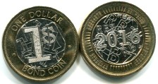 Zimbabwe 2016 bi-metallic 1 dollar coin