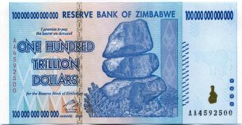 Zimbabwe $100 Trillion note