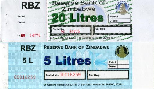 Zimbabwe 5 & 20 Litres petrol and diesel ration coupons