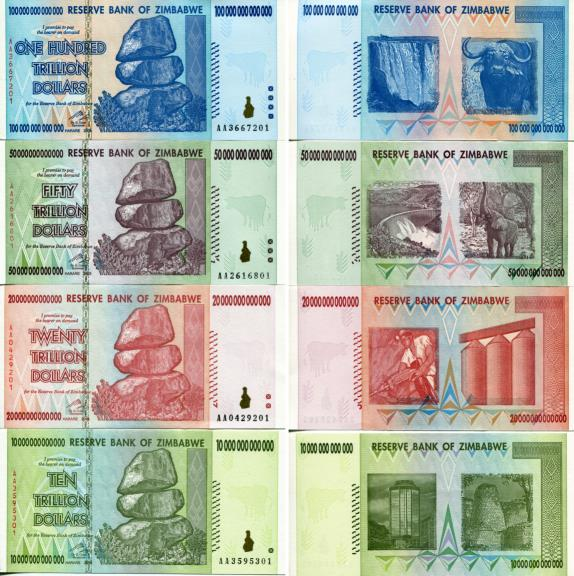 Zimbabwe $100,000,000,000,000, $50,000,000,000,000, $20,000,000,000,000 and $10,000,000,000,000 bills