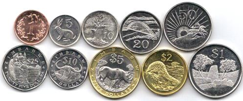 Zimbabwe 10 coin set: 1 cent to 25 Dollars